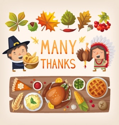 Thanksgiving day card elements vector