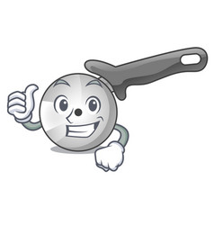 thumbs up character pizza cutter with handle vector image