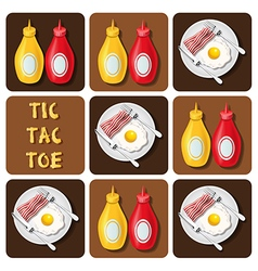 Tic-tac-toe bacon and fried egg and seasoning vector