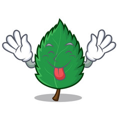 Tongue out mint leaves mascot cartoon vector