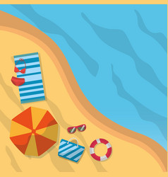 Top view beach summer towel bikini umbrella vector