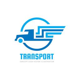 transport logistic logo design car truck sign vector image