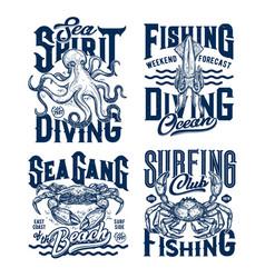 Tshirt prints with underwater animals set vector