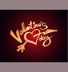 valentine day lettering golden texture red light vector image
