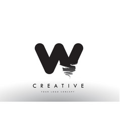 W brushed letter logo black brush letters design vector