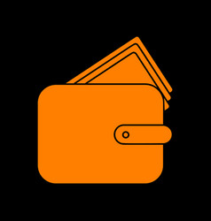 wallet sign orange icon on black vector image