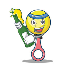 With beer rattle toy mascot cartoon vector
