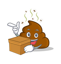 With box poop emoticon character cartoon vector