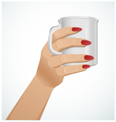 Woman hand with a mug version 3 vector image