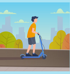 Young man riding electric scooter vector