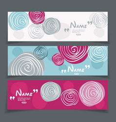 banner set with flower design vector image