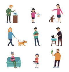 colorful people and pets collection vector image vector image