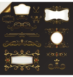 gold border set vector image