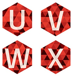 Modern Style White Alphabets On Red Hexagon vector image