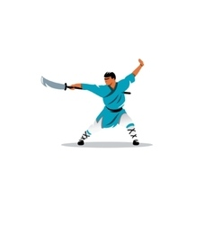 Shaolin monk with a sword sign vector image