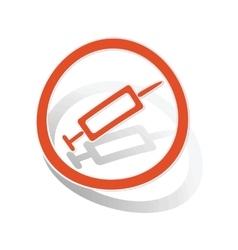 Vaccine sign sticker orange vector image