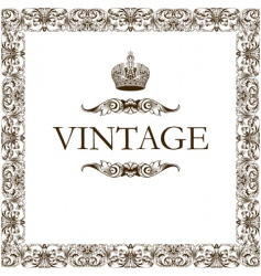 vintage frame decor crown vector image vector image