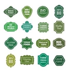 Vintage natural organic bio product green vector image