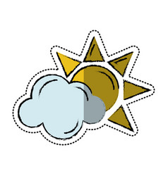 cartoon sun cloud weather symbol vector image vector image