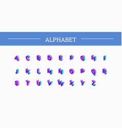 font isometric set 3d vector image