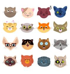 Fun cartoon cat faces cute kitten portraits vector