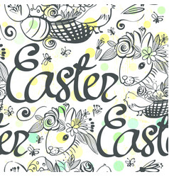 ink hand drawn black and white easter ornament vector image