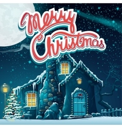 Merry Christmas with snow vector image