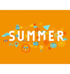 summer poster in flat style vector image vector image
