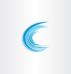blue water wave letter c icon vector image