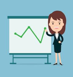 Businesswomen present with board vector