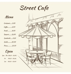 Hand drawn street cafe background vector image