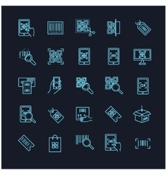 qr code icons set on a black background vector image vector image