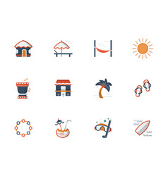 hawaii beach flat color icons set vector image vector image