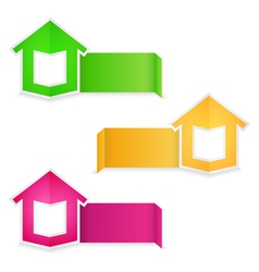 Origami banners with house vector image vector image