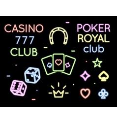 Set neon light logos of poker club and vector image