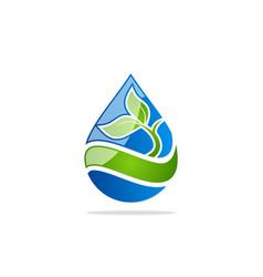 water drop green leaf logo vector image