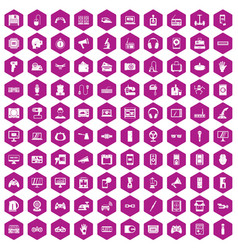 100 device app icons hexagon violet vector