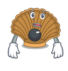 Afraid shell with pearl mascot cartoon vector