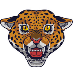 Angry leopard head mascot vector