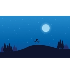 At night people skier Christmas vector