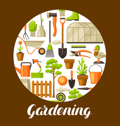 background with garden tools and items season vector image
