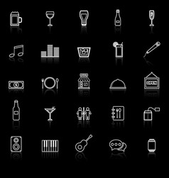 Bar line icons with reflect on black background vector