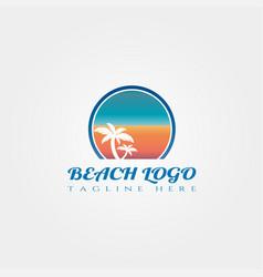 Beach icon template creative logo design element vector