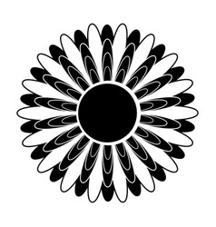 Black and white silhouette of a flower in an vector