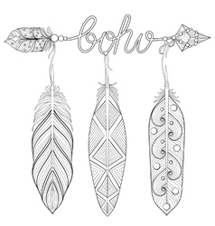 Bohemian Arrow Hand drawn Amulet wih word Boho vector