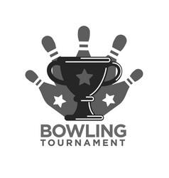 Bowling tournament promotional monochrome logotype vector