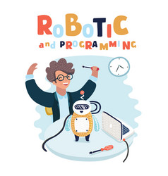 boy play with cute robot vector image