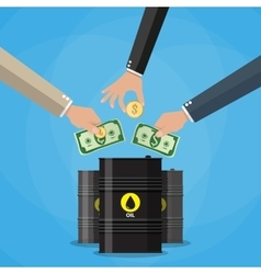 Businessman hand picking up money into oil barrel vector image