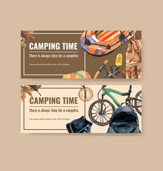 Camping banner design with inflatable boat vector