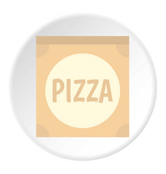 Cardboard box with pizza icon circle vector